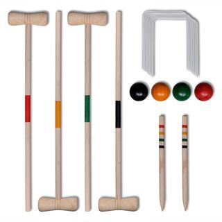 vidaXL Set juego de croquet de madera 90687