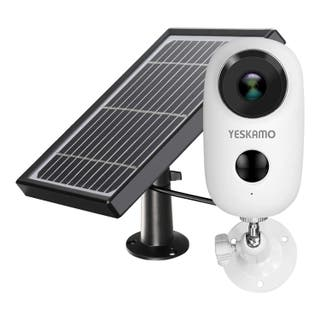 Cámara vigilancia con panel, batería recargable