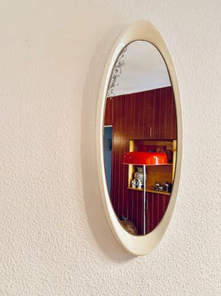 Espejo vintage ovalado blanco Space Age 70's