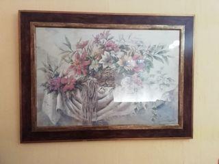 Cuadro flores precioso, doble marco. Medidas largo