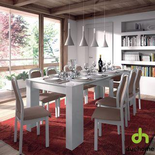 Mesa de comedor, consola extensible blanca