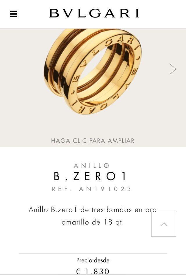 Anillo B. ZERO 1 BVLGARI (precio negociable)