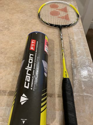 Brand new Badminton racket and shuttlecock