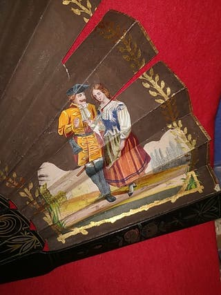 abanico antiguo pintado a mano