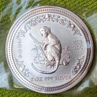 Moneda Plata Australia 2 oz Año del Mono 2004