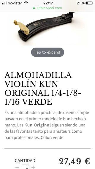 Almohadilla Kun para violín (costilla)