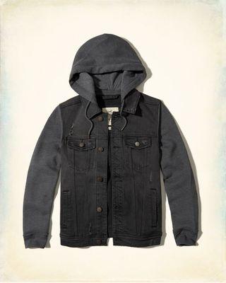 Hollister - ripped hooded denim jacket