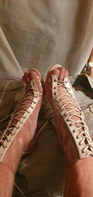 botas de tacon transparentes sexy talla 41.