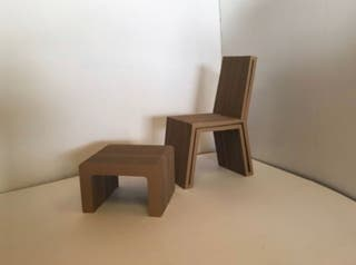 Silla + mesa auxiliar de diseño