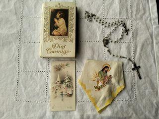 Conjunto libro, rosario, pañuelo