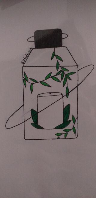 Ilustraciones fuente y farolillo con vela