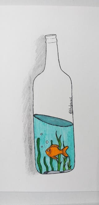 Ilustración de un pez en una botella