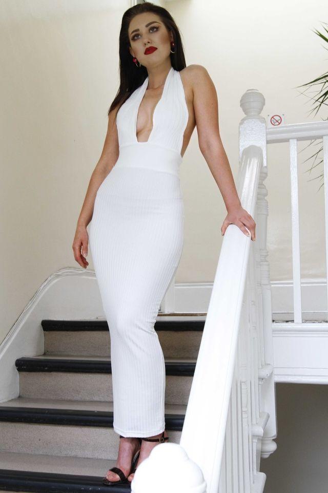 Dress White Maxi Off shoulder Backless S&M