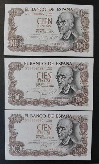 billetes de 100 pesetas de 1970
