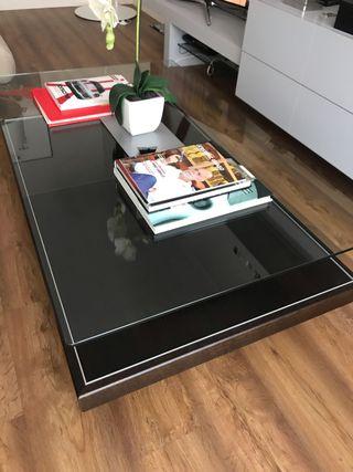 Mesa de centro auxiliar madera con sobre cristal