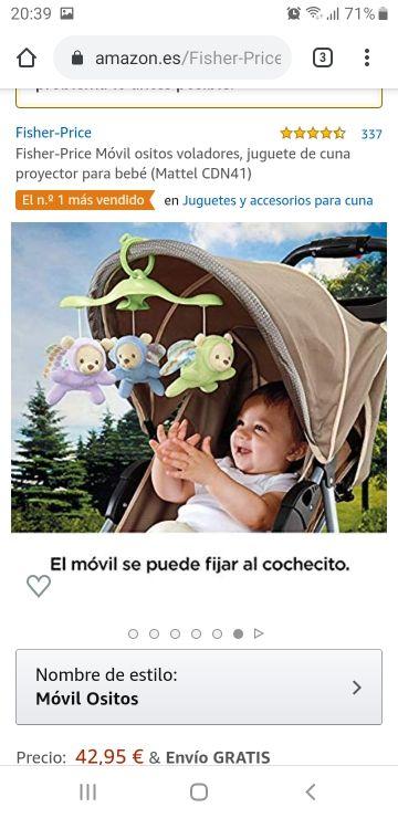 Juguete Cuna Proyector Bebé Fisher Price
