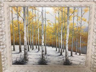 Cuadro paisaje bosque invierno nevado lienzo