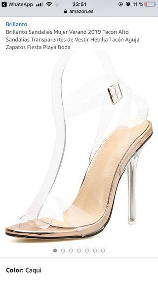 Sandalias de tacón transparente mujer