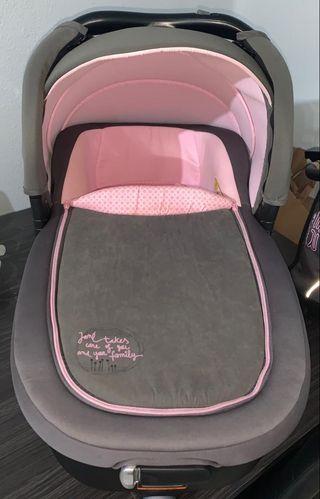 Carrito de bebé jane rider gris y rosa muy nuevo