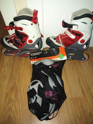 Vendo patines en línea con protecciones