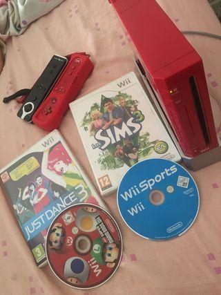 Wii simple, edición roja mario bross.