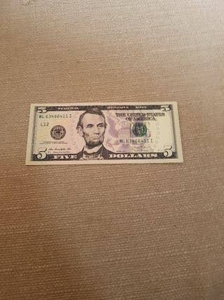billete 5 dolares americano autentico USA USD