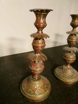 candelabros antiguos bronce
