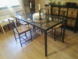 mesa comedor hierro forjado + 6 sillas 150x80