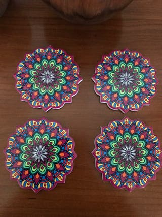 Juego 4 posa vasos mándala multicolor
