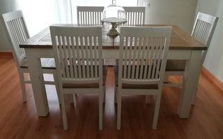 Mesa extensible Danish y 6 sillas