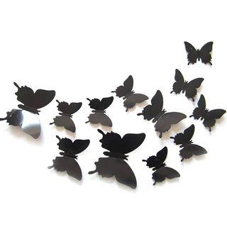 12 Mariposas 3D con imán y pegatina