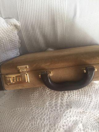 Antiguo maletín piel /ante marrón ejecutiva Loewe