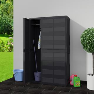 vidaXL Armario de jardín con 4 estantes negro43700