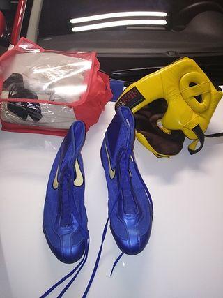 conjunto botas n 42 espinilleras y casco de protec