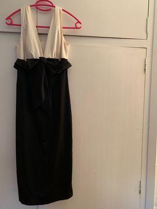 Vestido fiesta etxart & panno, crudo y negro
