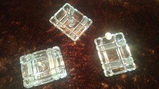 Cenicero, caja y anillero cristal/plata