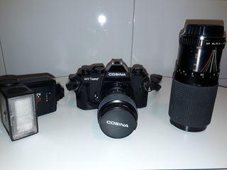 Cámara fotos analógica con accesorios