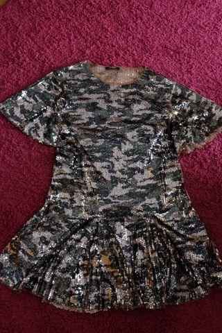 Vestido ZARA lentejuelas camuflaje