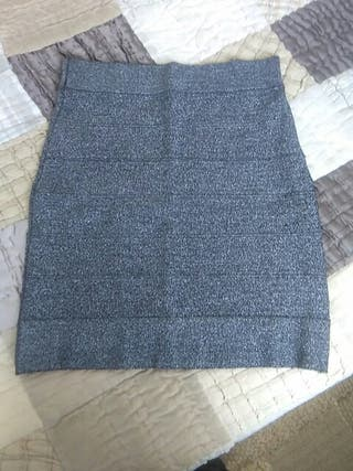 Falda mini gris brillante