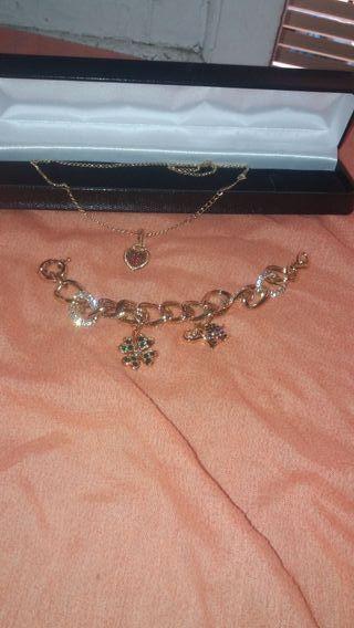 pulsera y cadena de plata chapada en oro de 24 ki