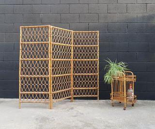 Biombo de bambu. Vintage, 70s.