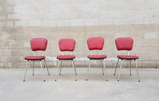 Set de 4 sillas francesas. Vintage, 60s.