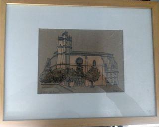 dibujo a tinta Iglesia del Junkal de Irún