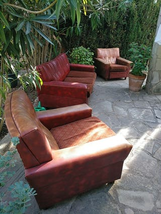 sofà cama Vintage Con dos sillones a juego