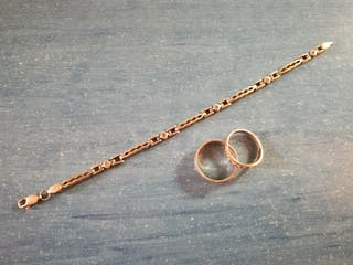 Pulsera y anillos de plata y brillantes