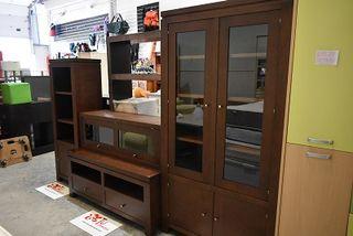 Mueble salon rustico con vitrina 312 cm