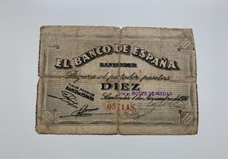 Escaso Billete 10 Pesetas 1936 SANTANDER