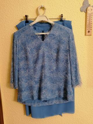 Conjunto Falda + Blusa en tonos azules