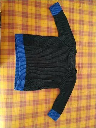 Jersey negro y azul eléctrico Massimo Dutti