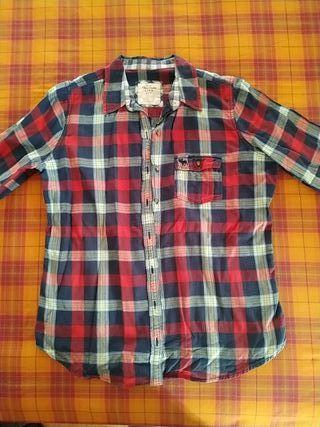 Camisa cuadros azul y roja Abercrombie & Fitch